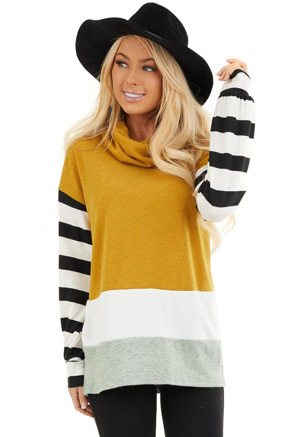 Mustard and Seafoam Cowl Neck Top with Long Striped Sleeves front close up
