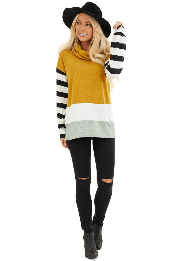 Mustard and Seafoam Cowl Neck Top with Long Striped Sleeves front full body