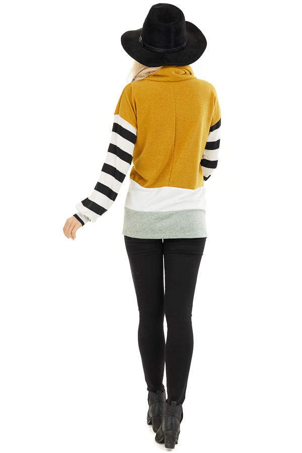 Mustard and Seafoam Cowl Neck Top with Long Striped Sleeves back full body