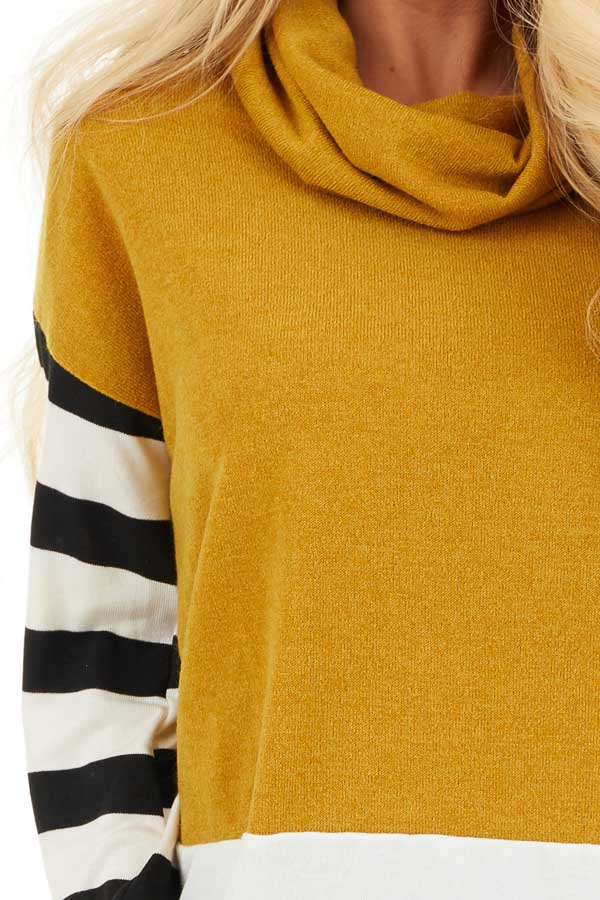 Mustard and Seafoam Cowl Neck Top with Long Striped Sleeves detail