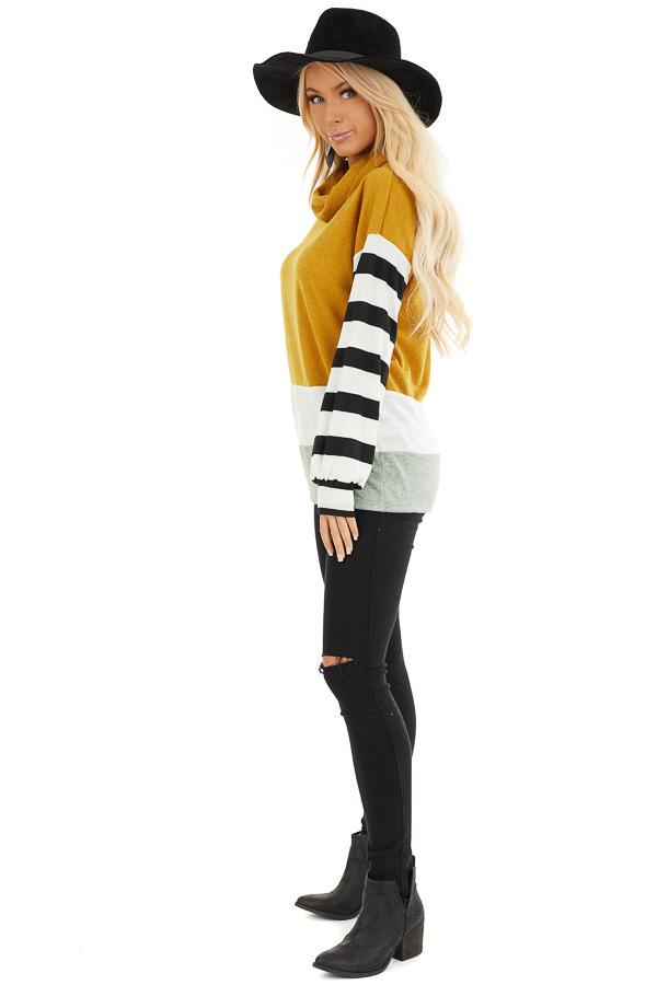 Mustard and Seafoam Cowl Neck Top with Long Striped Sleeves side full body