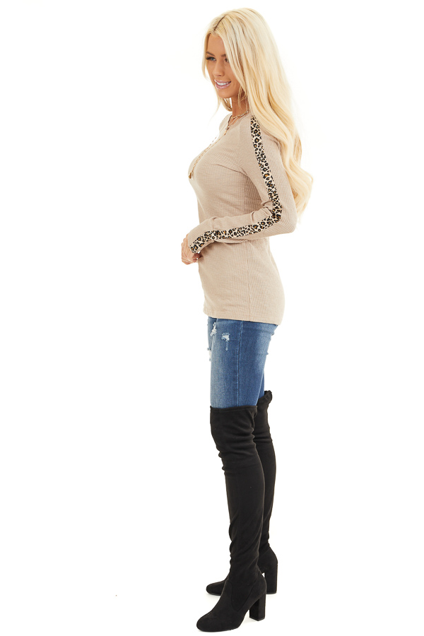 Khaki Ribbed Knit Top with Leopard Print Contrast side full body