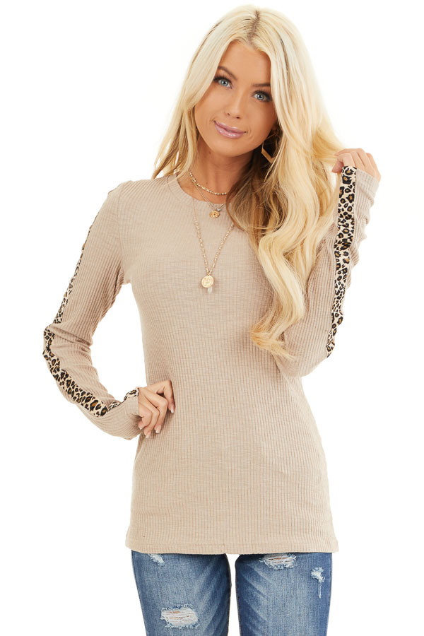 Khaki Ribbed Knit Top with Leopard Print Contrast front close up