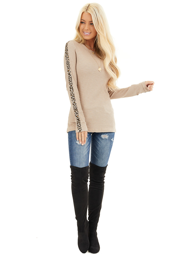 Khaki Ribbed Knit Top with Leopard Print Contrast front full body