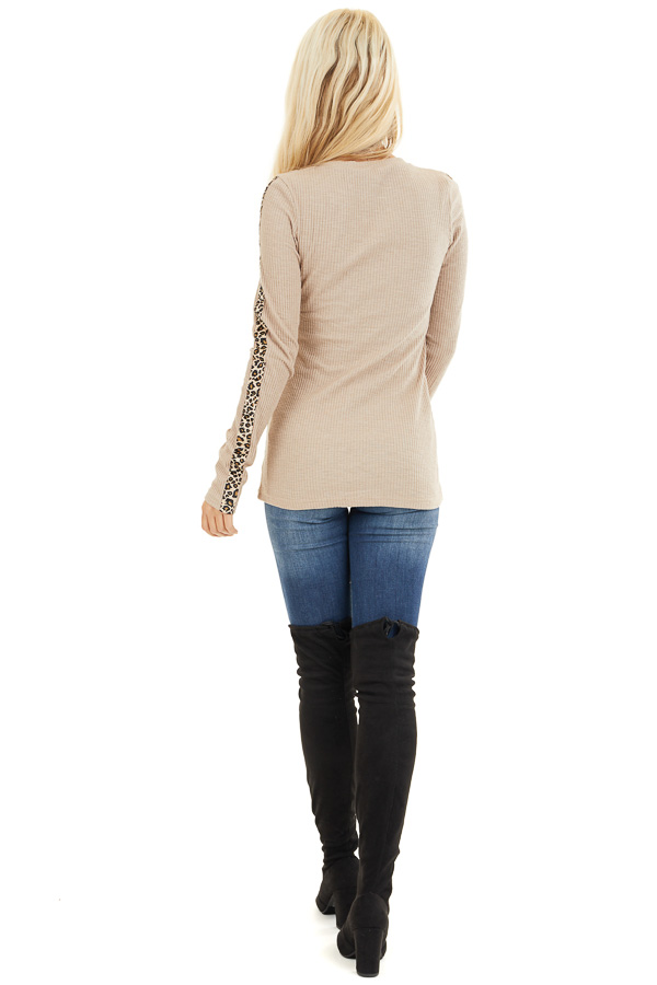 Khaki Ribbed Knit Top with Leopard Print Contrast back full body