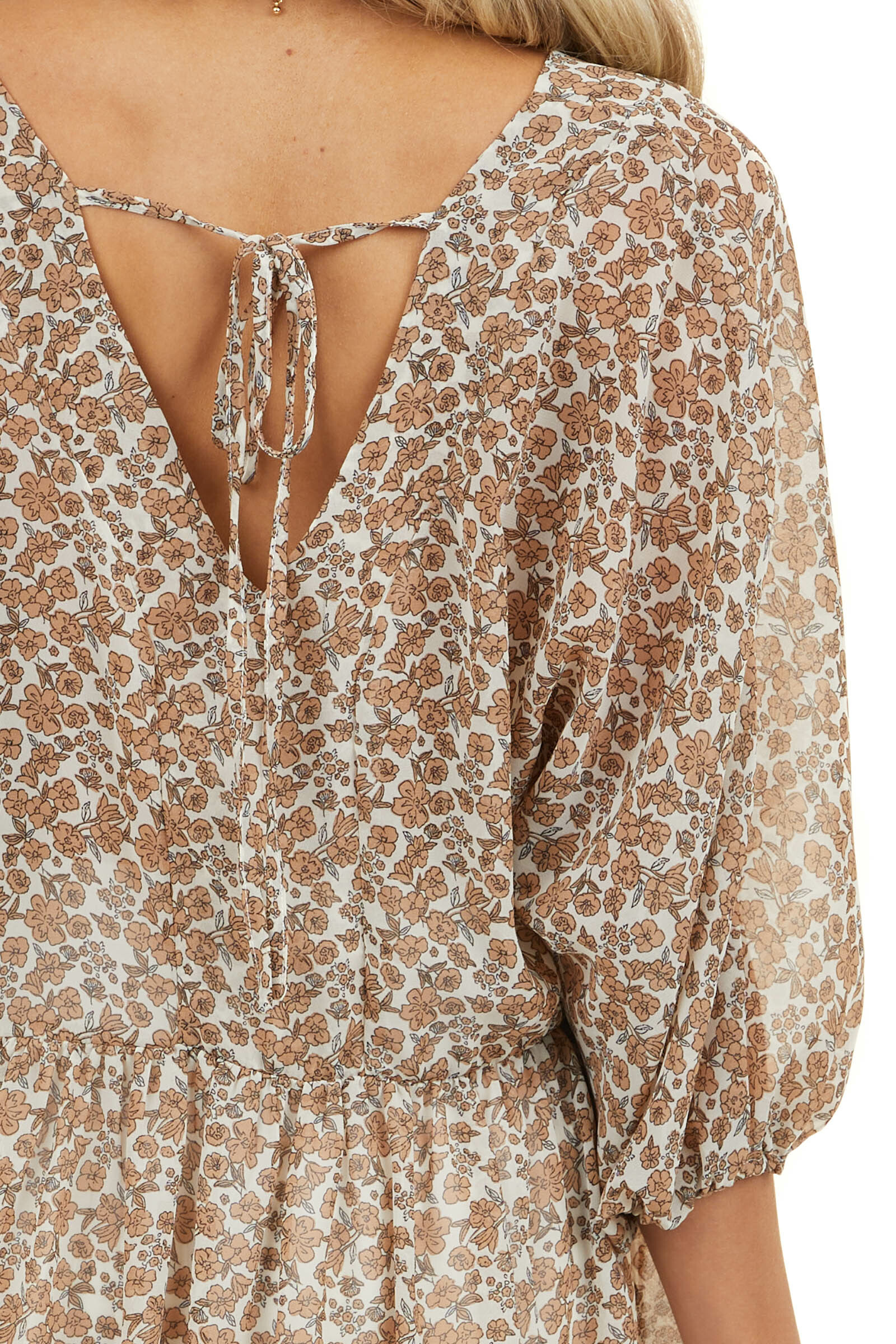 Ivory and Toffee Floral Print Babydoll Sheer Top with Tie