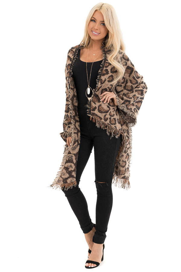 Beige and Caramel Leopard Print Shawl Poncho with Fringe front full body