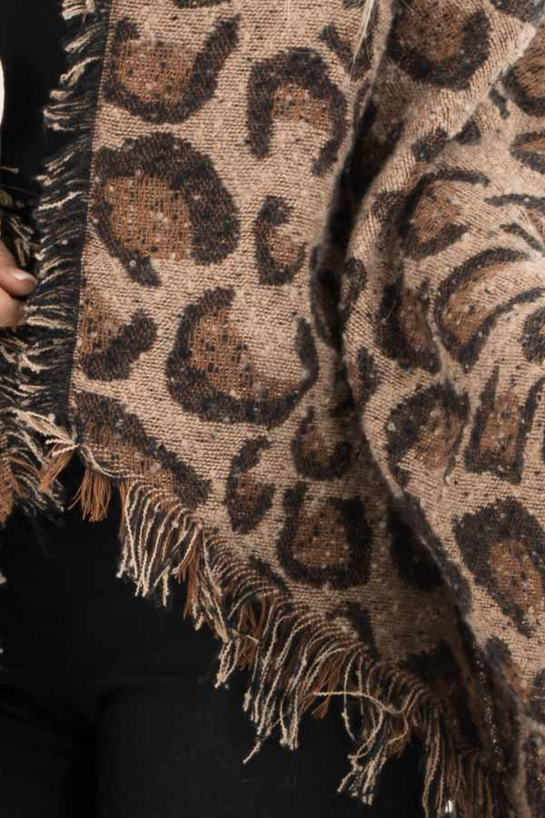 Beige and Caramel Leopard Print Shawl Poncho with Fringe detail