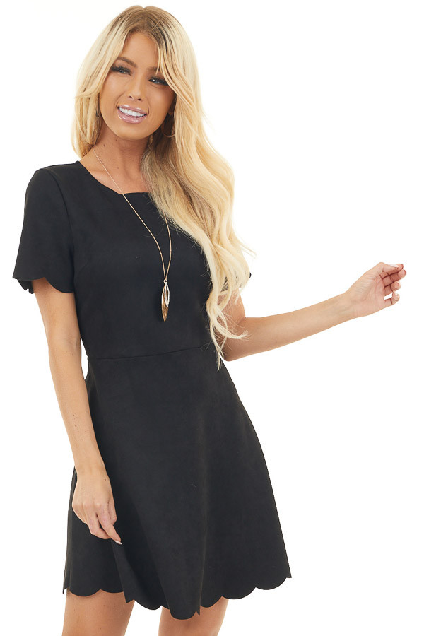 Black Short Sleeve Suede Dress with Scalloped Details