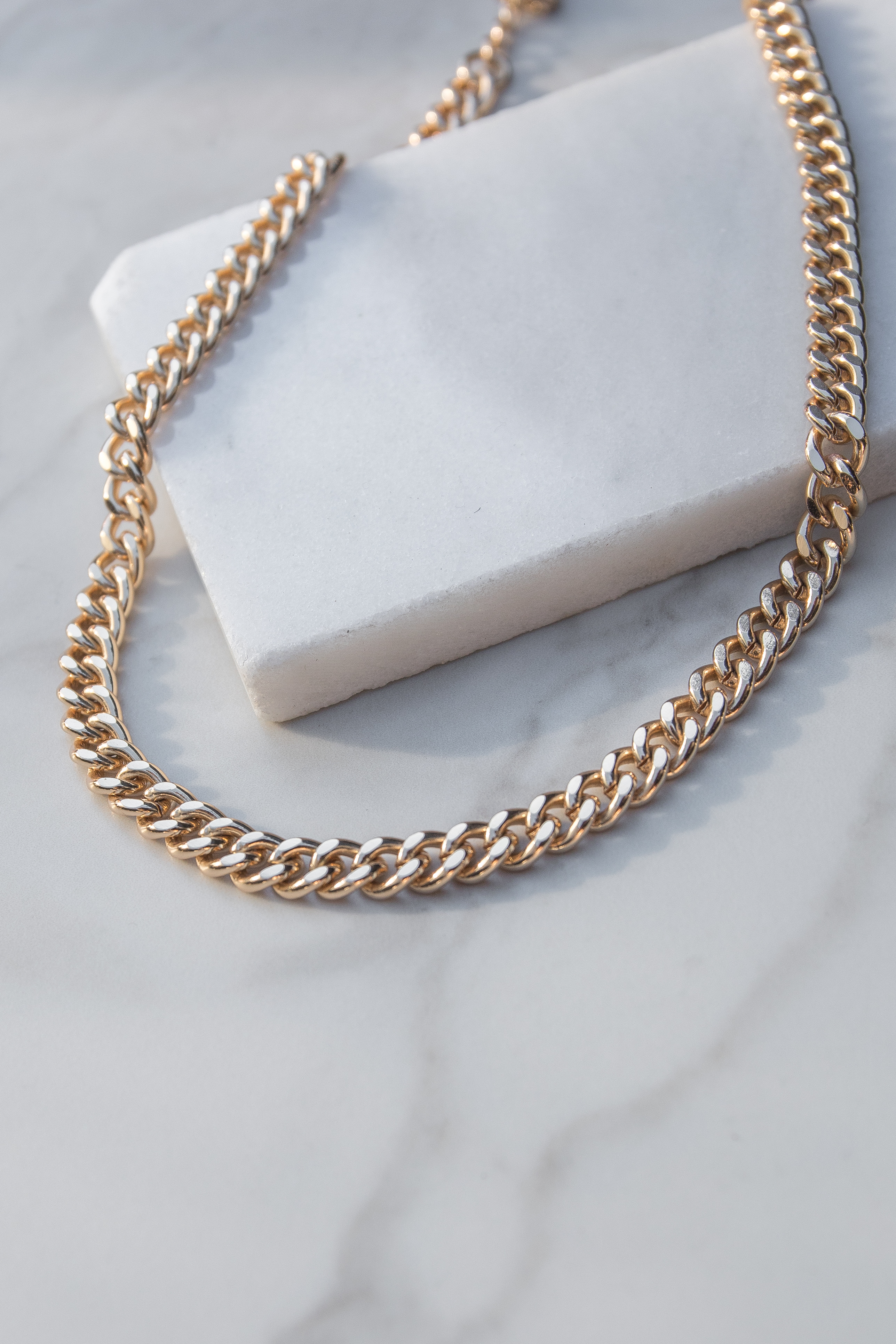 Metallic Gold Large Chain Link Necklace