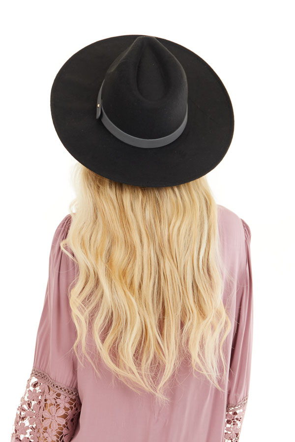 Black Faux Wool Wide Stiff Brim Hat with Leather Trim Detail