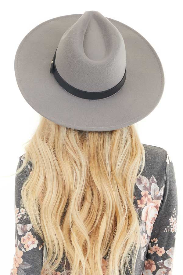 Grey Faux Wool Wide Stiff Brim Hat with Leather Trim Detail back view