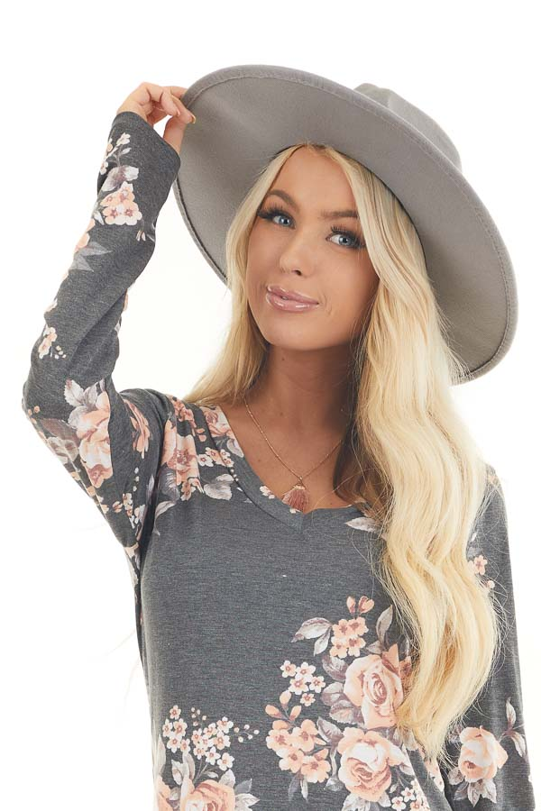 Grey Faux Wool Wide Stiff Brim Hat with Leather Trim Detail front view