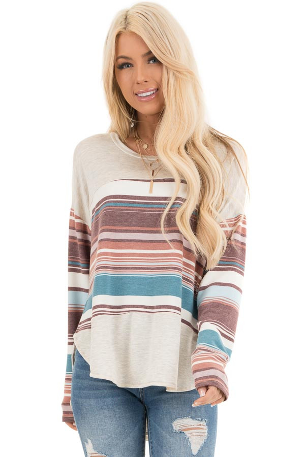 Oatmeal Long Sleeve Knit Top with Multicolor Stripes front close up