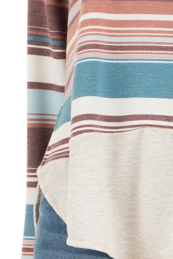 Oatmeal Long Sleeve Knit Top with Multicolor Stripes detail