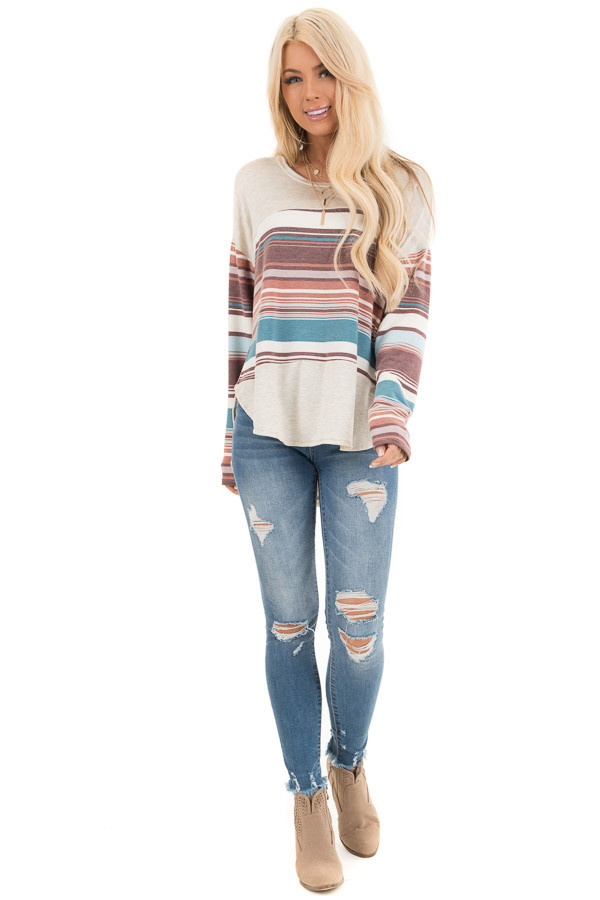 Oatmeal Long Sleeve Knit Top with Multicolor Stripes front full body