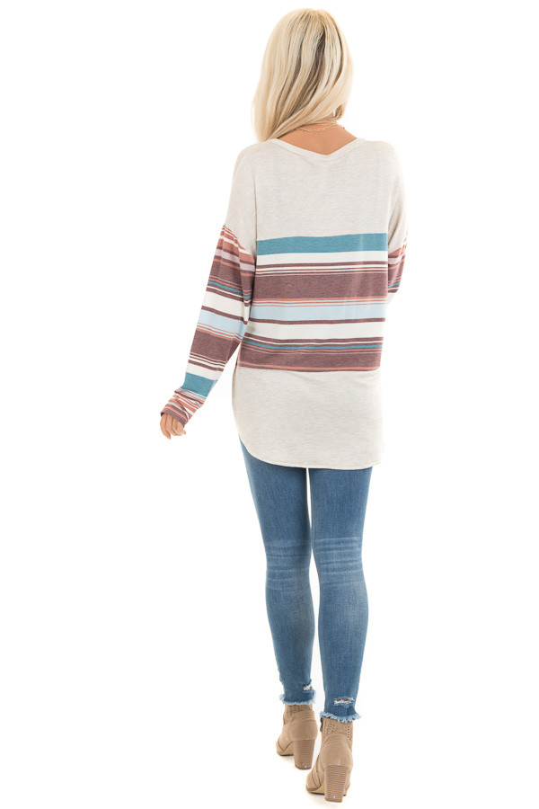 Oatmeal Long Sleeve Knit Top with Multicolor Stripes back full body