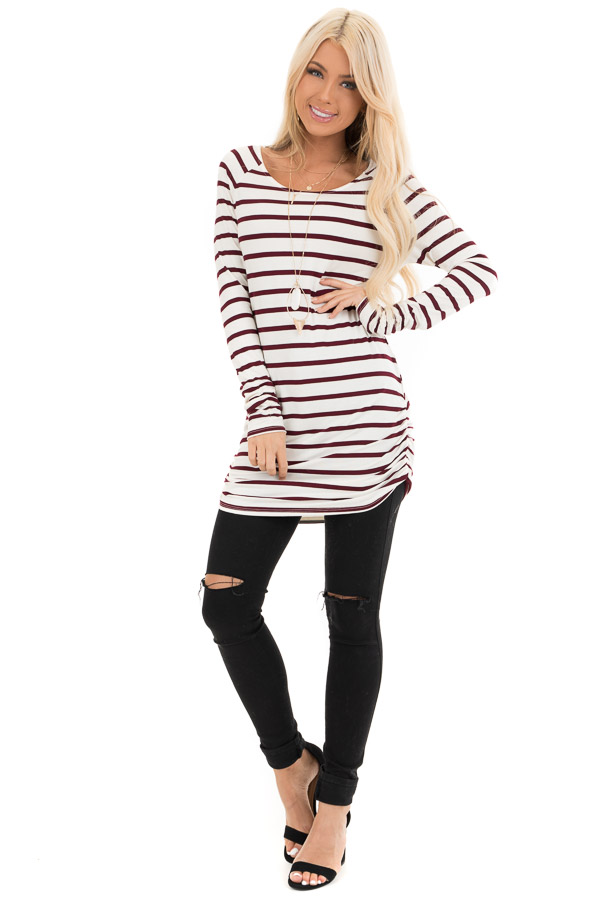 Wine and Cream Striped Long Sleeve Ruched Tunic Top front full body