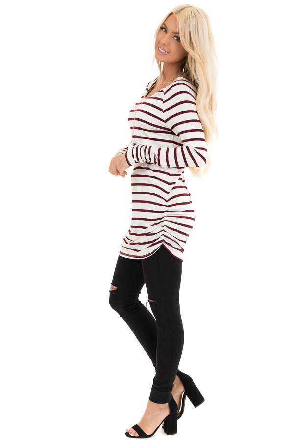 Wine and Cream Striped Long Sleeve Ruched Tunic Top side full body