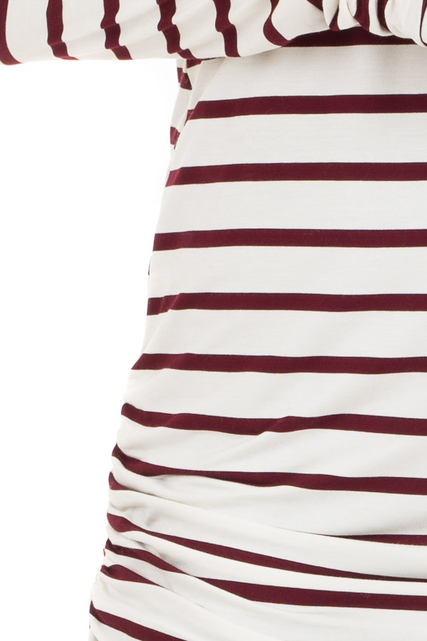 Wine and Cream Striped Long Sleeve Ruched Tunic Top detail