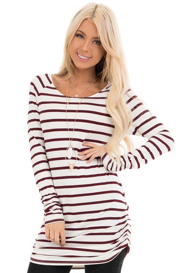 Wine and Cream Striped Long Sleeve Ruched Tunic Top front close up