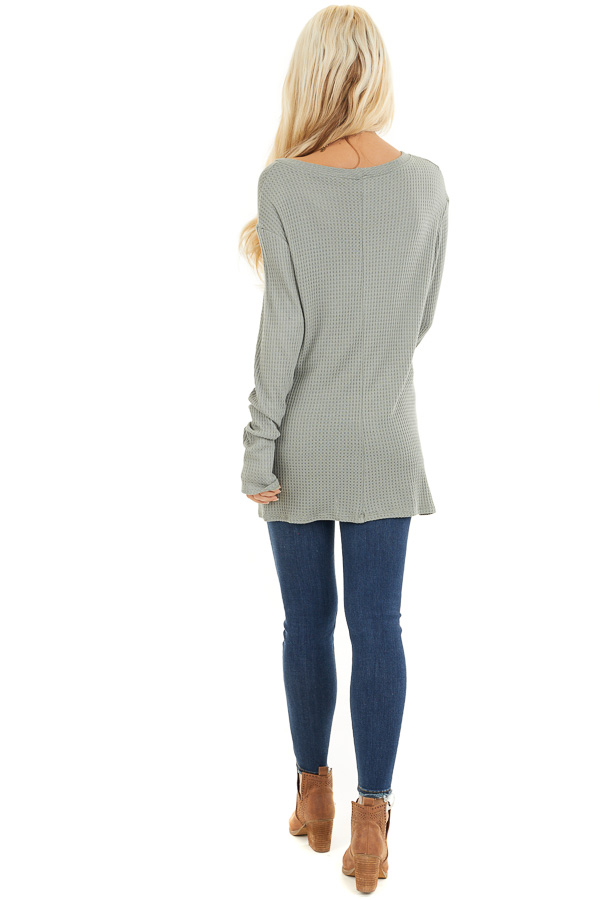 Sage Long Sleeve Waffle Knit Top with Twist Detail back full body