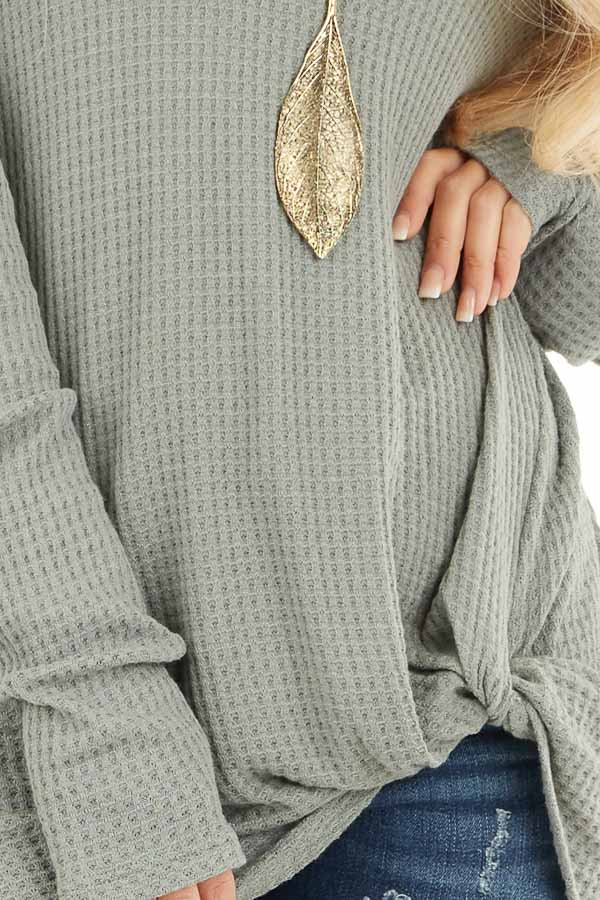 Sage Long Sleeve Waffle Knit Top with Twist Detail detail