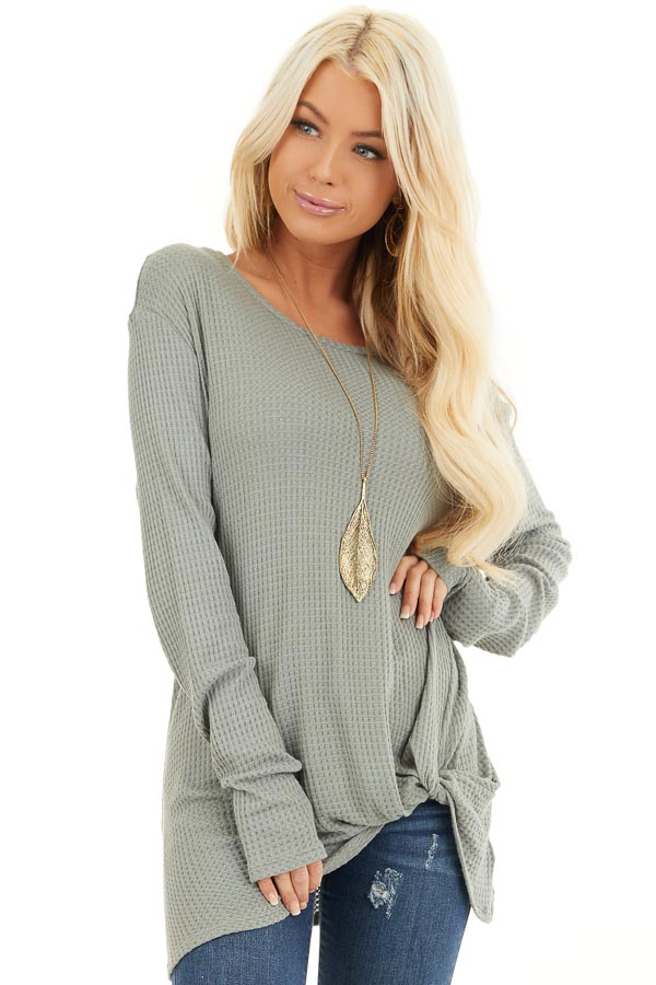 Sage Long Sleeve Waffle Knit Top with Twist Detail front close up