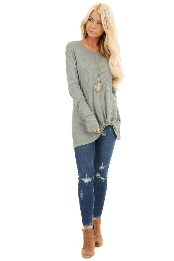 Sage Long Sleeve Waffle Knit Top with Twist Detail front full body