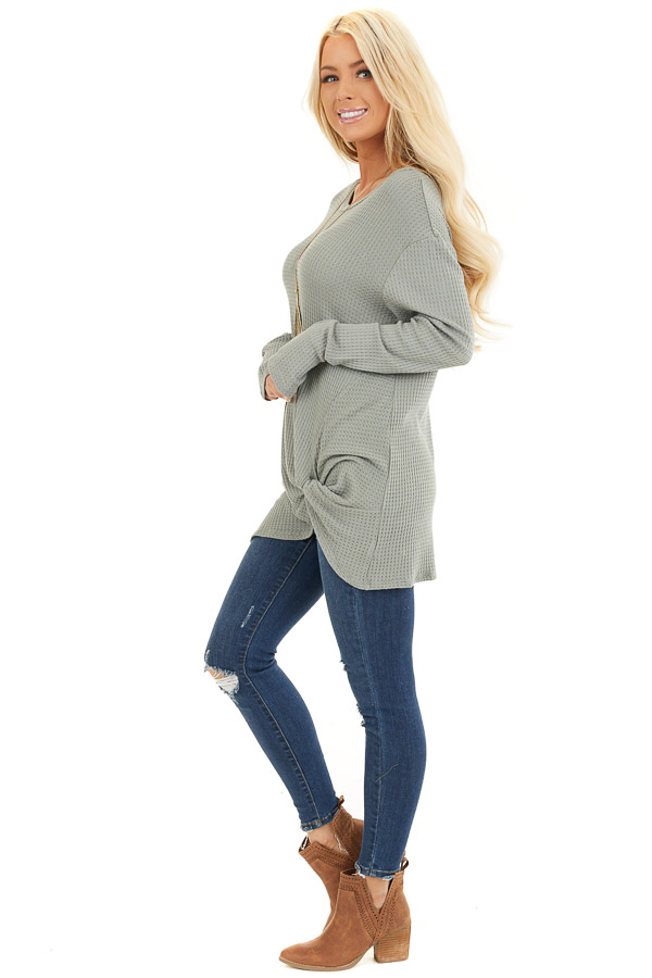 Sage Long Sleeve Waffle Knit Top with Twist Detail side full body