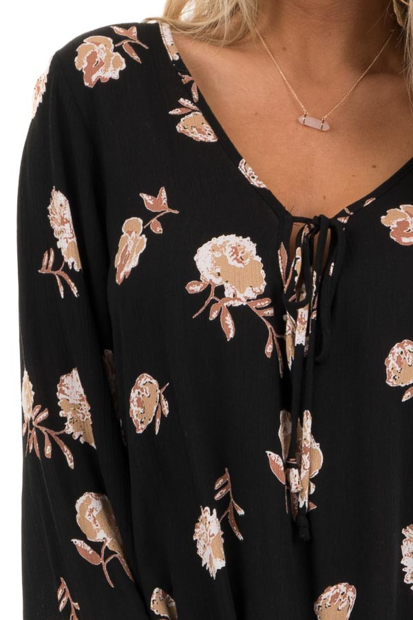 Black Floral Print Tunic Top with Long Sleeves and Front Tie detail