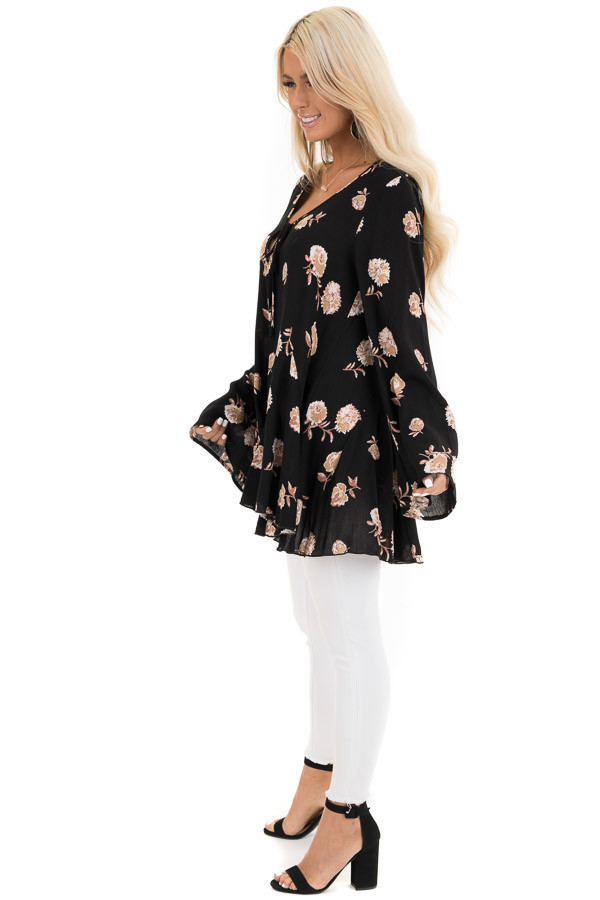 Black Floral Print Tunic Top with Long Sleeves and Front Tie side full body
