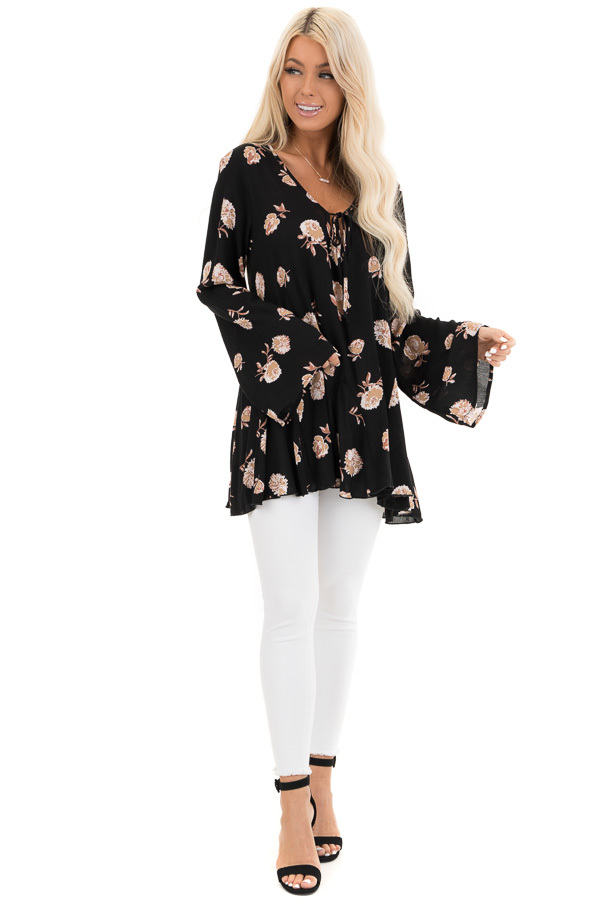 Black Floral Print Tunic Top with Long Sleeves and Front Tie front full body