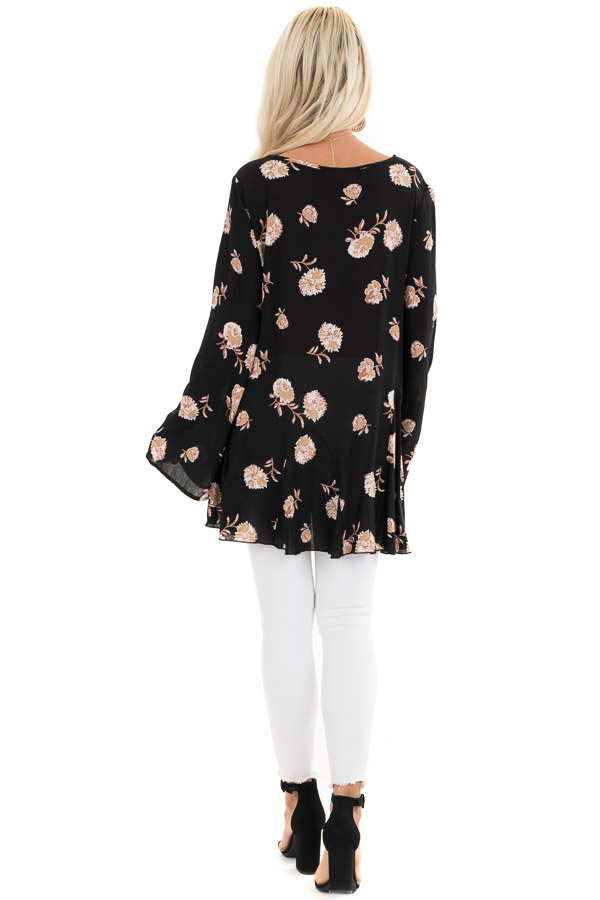 Black Floral Print Tunic Top with Long Sleeves and Front Tie back full body