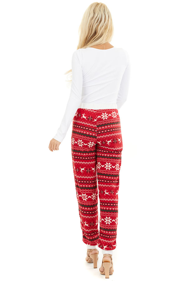 Lipstick Red Fair Isle Holiday Joggers with Waist Tie Detail back full body