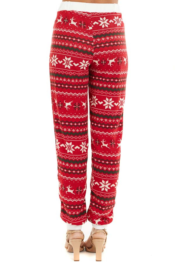 Lipstick Red Fair Isle Holiday Joggers with Waist Tie Detail back view