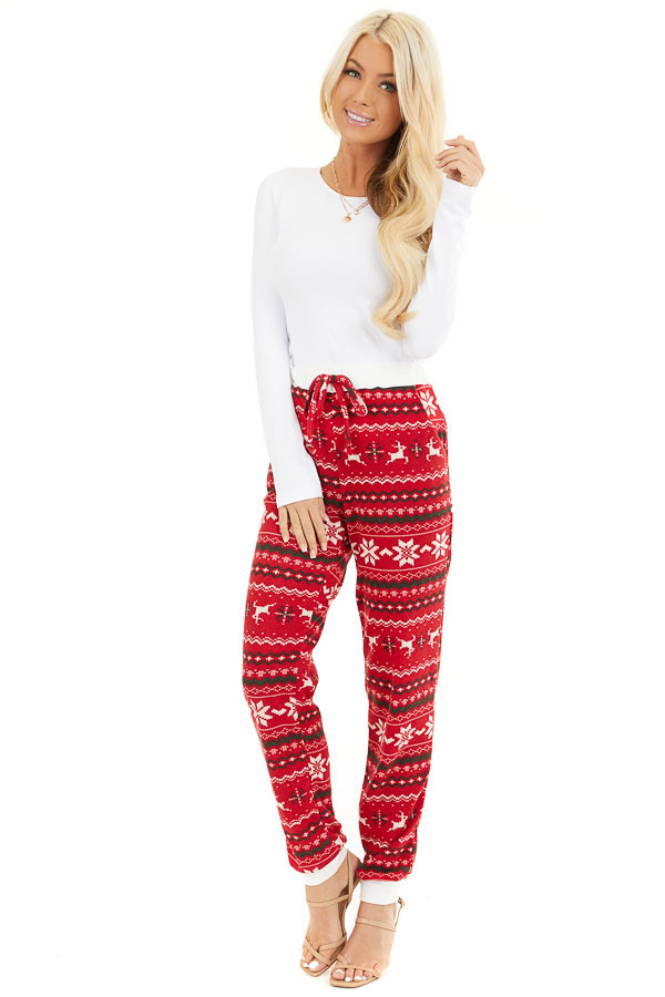 Lipstick Red Fair Isle Holiday Joggers with Waist Tie Detail front full body
