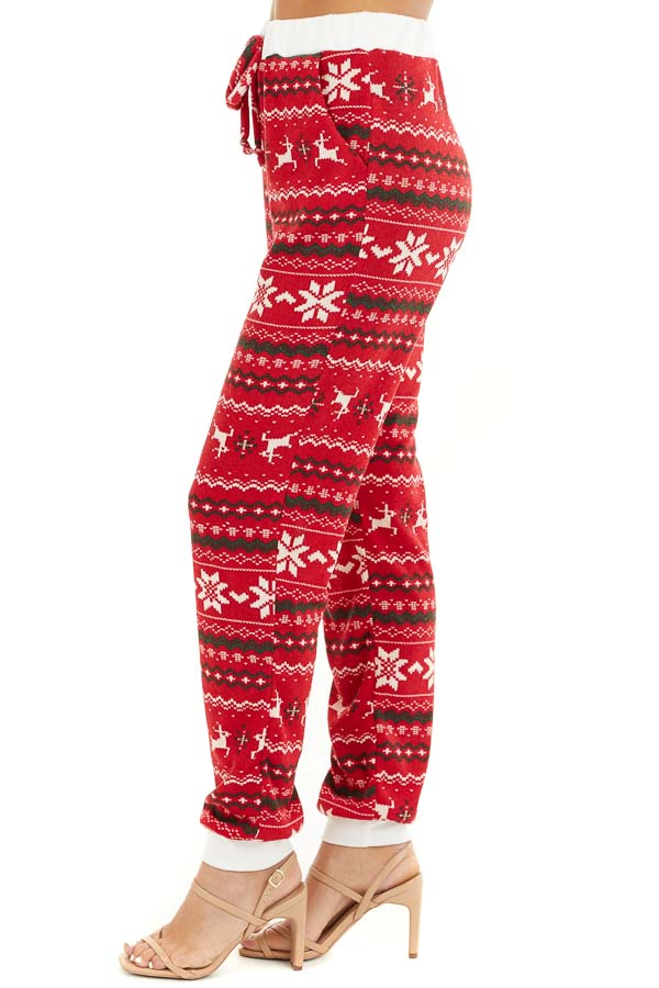 Lipstick Red Fair Isle Holiday Joggers with Waist Tie Detail side view