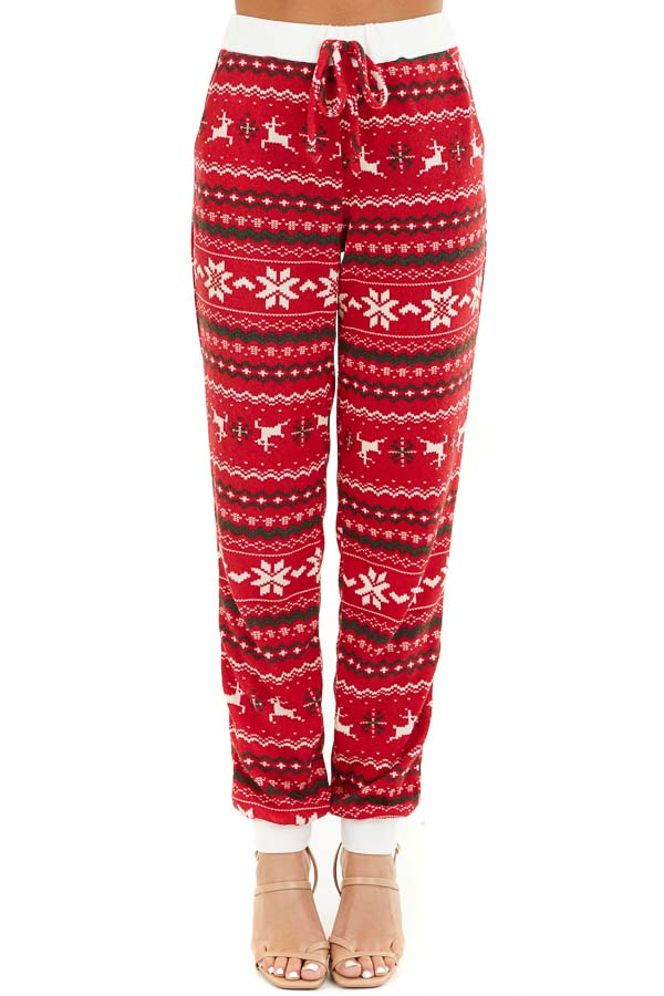 Lipstick Red Fair Isle Holiday Joggers with Waist Tie Detail front view