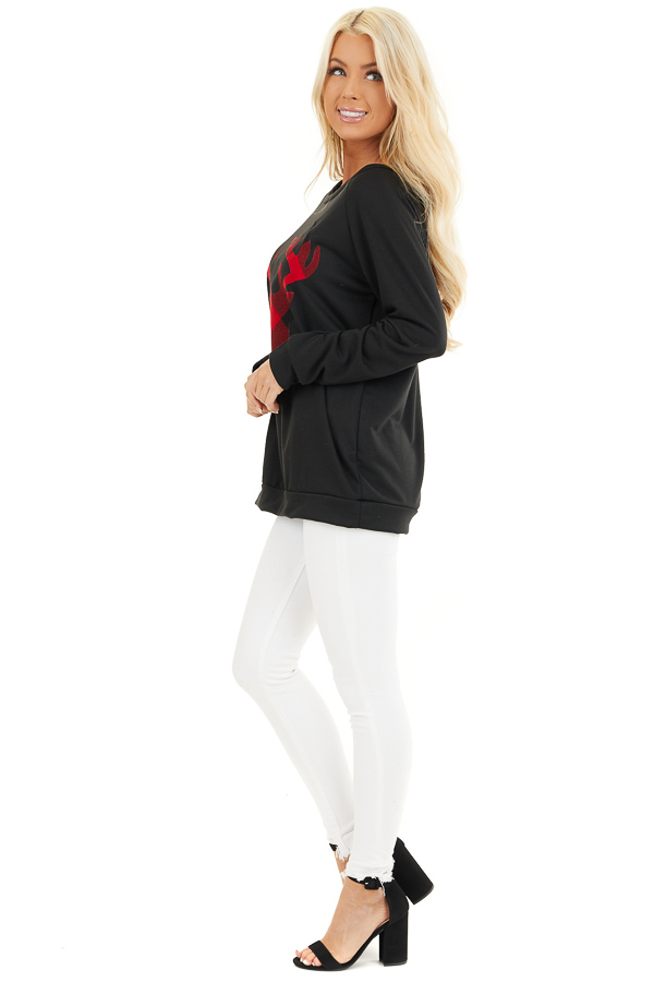 Black Pullover Top with Plaid Lipstick Red Reindeer Print side full body