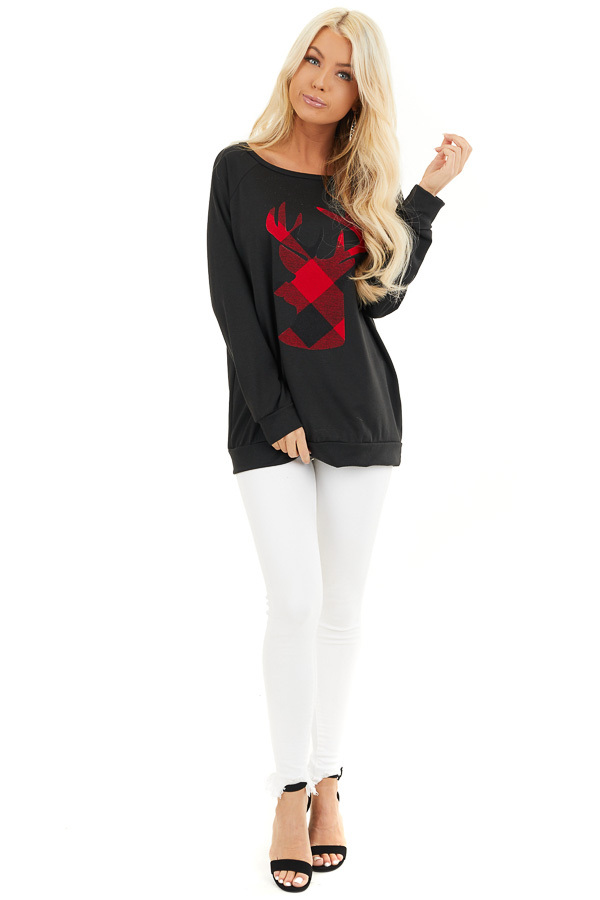 Black Pullover Top with Plaid Lipstick Red Reindeer Print front full body