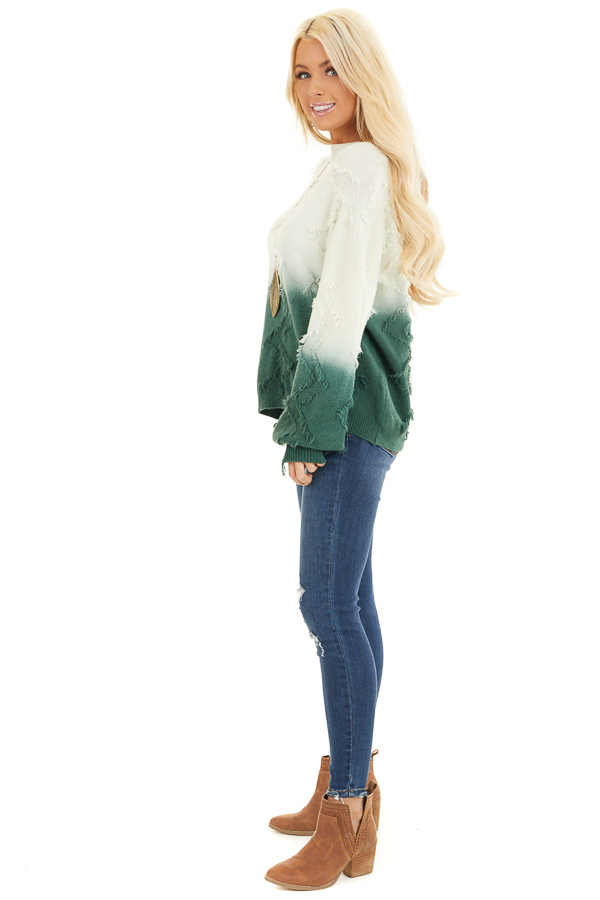 Cream and Hunter Green Ombre Sweater with Fringe Details side full body