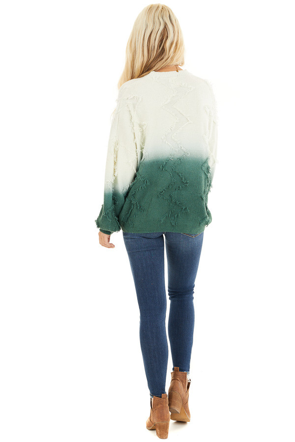 Cream and Hunter Green Ombre Sweater with Fringe Details back full body