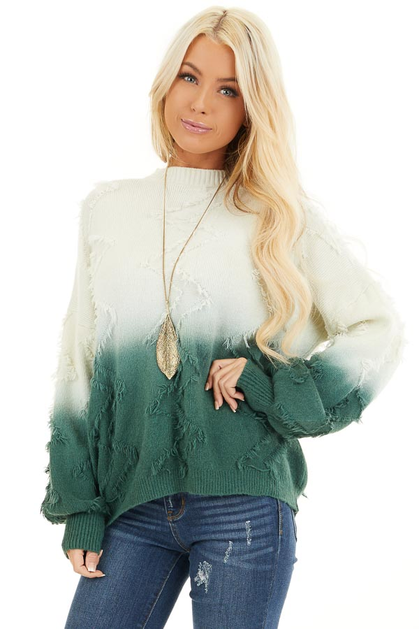 Cream and Hunter Green Ombre Sweater with Fringe Details front close up