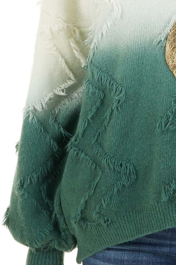 Cream and Hunter Green Ombre Sweater with Fringe Details detail