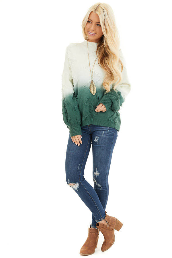 Cream and Hunter Green Ombre Sweater with Fringe Details front full body