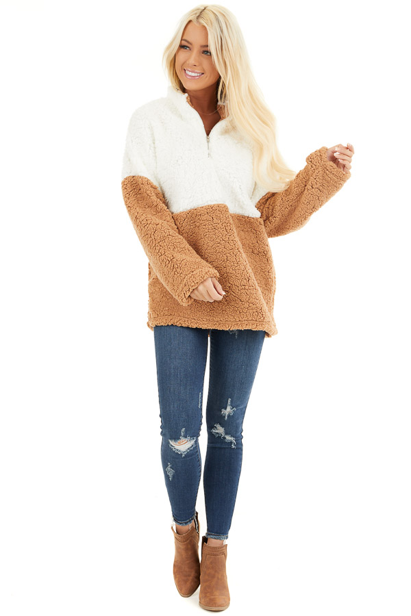 Ivory and Camel Zip Up Color Block Pullover Sweatshirt front full body