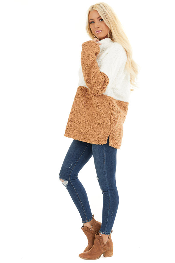 Ivory and Camel Zip Up Color Block Pullover Sweatshirt side full body