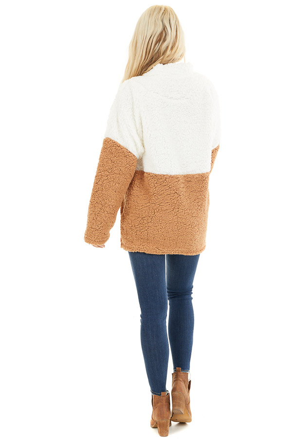Ivory and Camel Zip Up Color Block Pullover Sweatshirt back full body