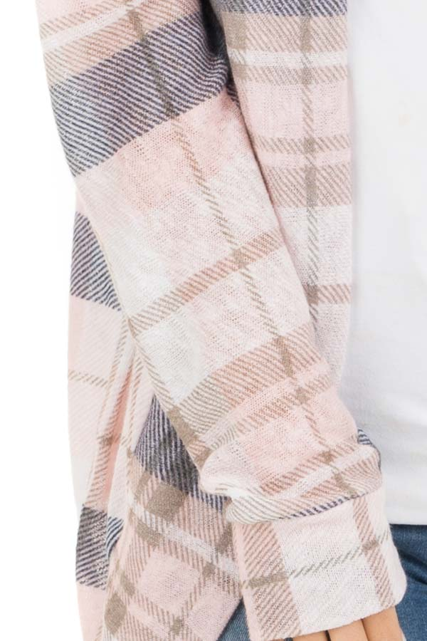Baby Pink and Navy Plaid Open Front Lightweight Cardigan detail